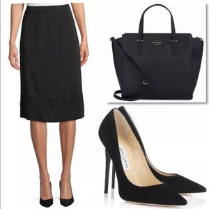 EXCLUSIVELY MISOOK BLACK STRAIGHT PULL ON SKIRT